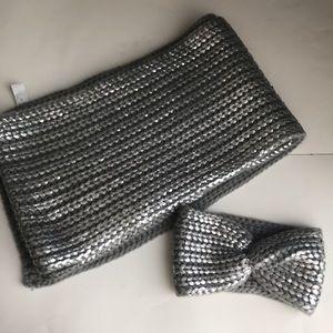 headband and skarf Danier silver grey